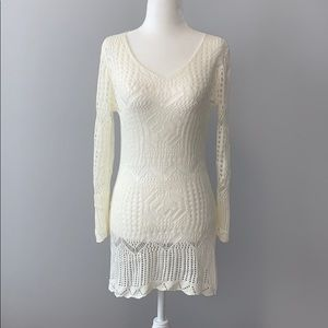 White Crochet Cover Up Dress Tunic One Size